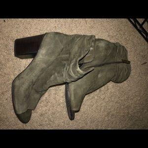 olive green open toe booties-KCR